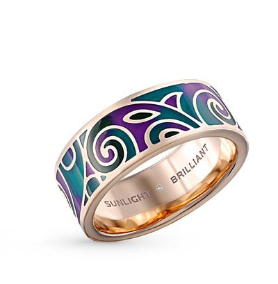 Фото «серебряное кольцо с бриллиантами и витражными эмалью»