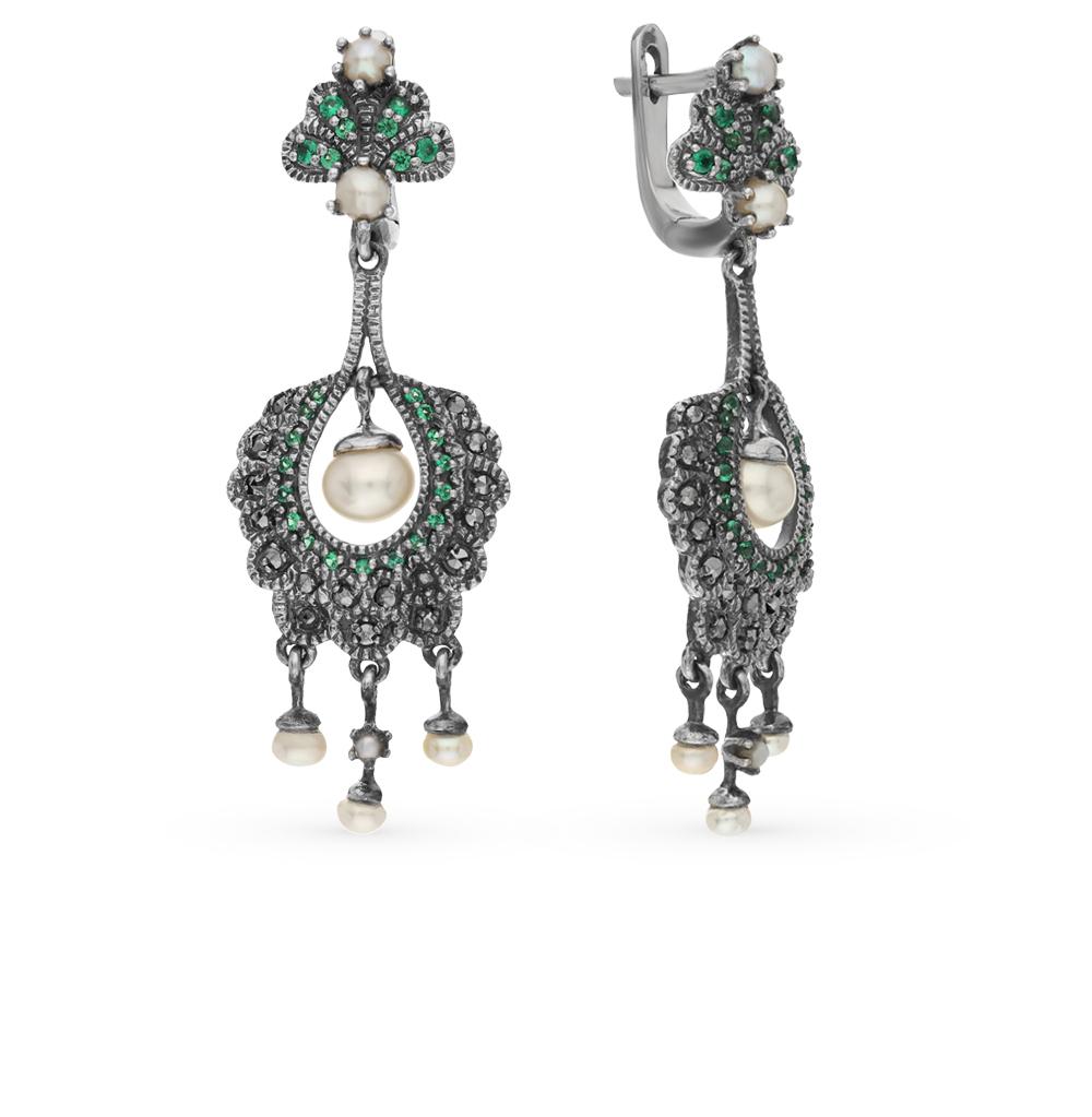 Фото «серебряные серьги с бериллами, марказитами и жемчугом»
