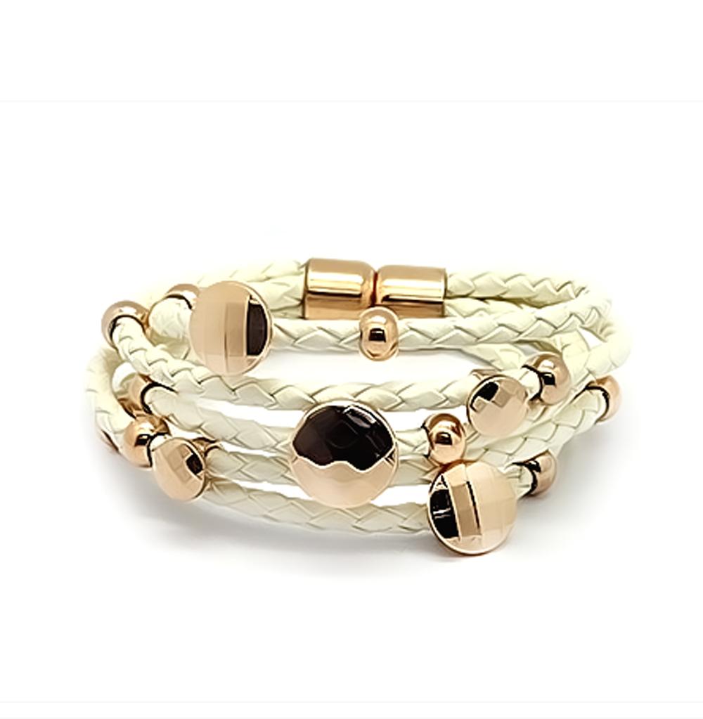 Фото «кожаный браслет с сталями, фианитами и эмалью»