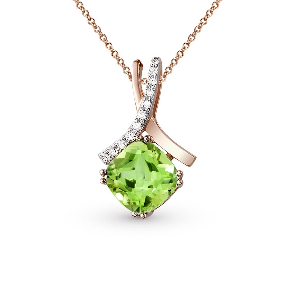 Фото «золото подвеска с бриллиантами и султанитами синтетическими»