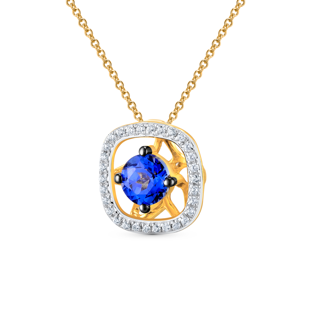 Фото «золотая подвеска с бриллиантами и сапфирами»