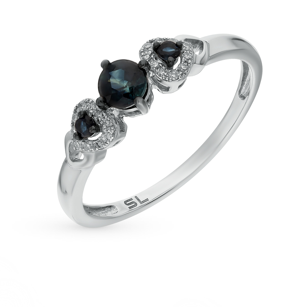 Фото «серебряное кольцо с бриллиантами, фианитами, сапфирами и жемчугом»