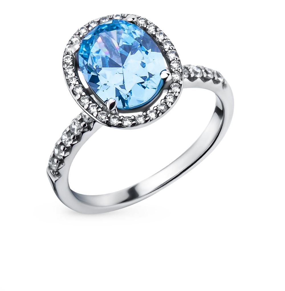Фото «серебряное кольцо с бриллиантами, фианитами и сапфирами»