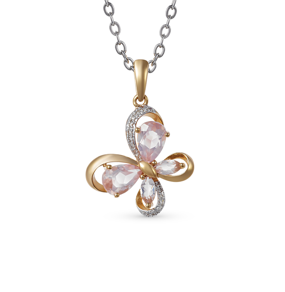 Фото «золотая подвеска с кварцем и бриллиантами»