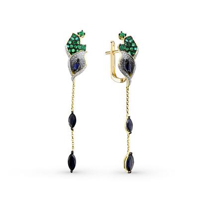 Фото «золотые серьги с изумрудами, сапфирами и бриллиантами»