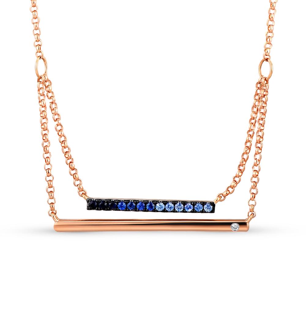 золото шейное украшение с бриллиантами и сапфирами SUNLIGHT
