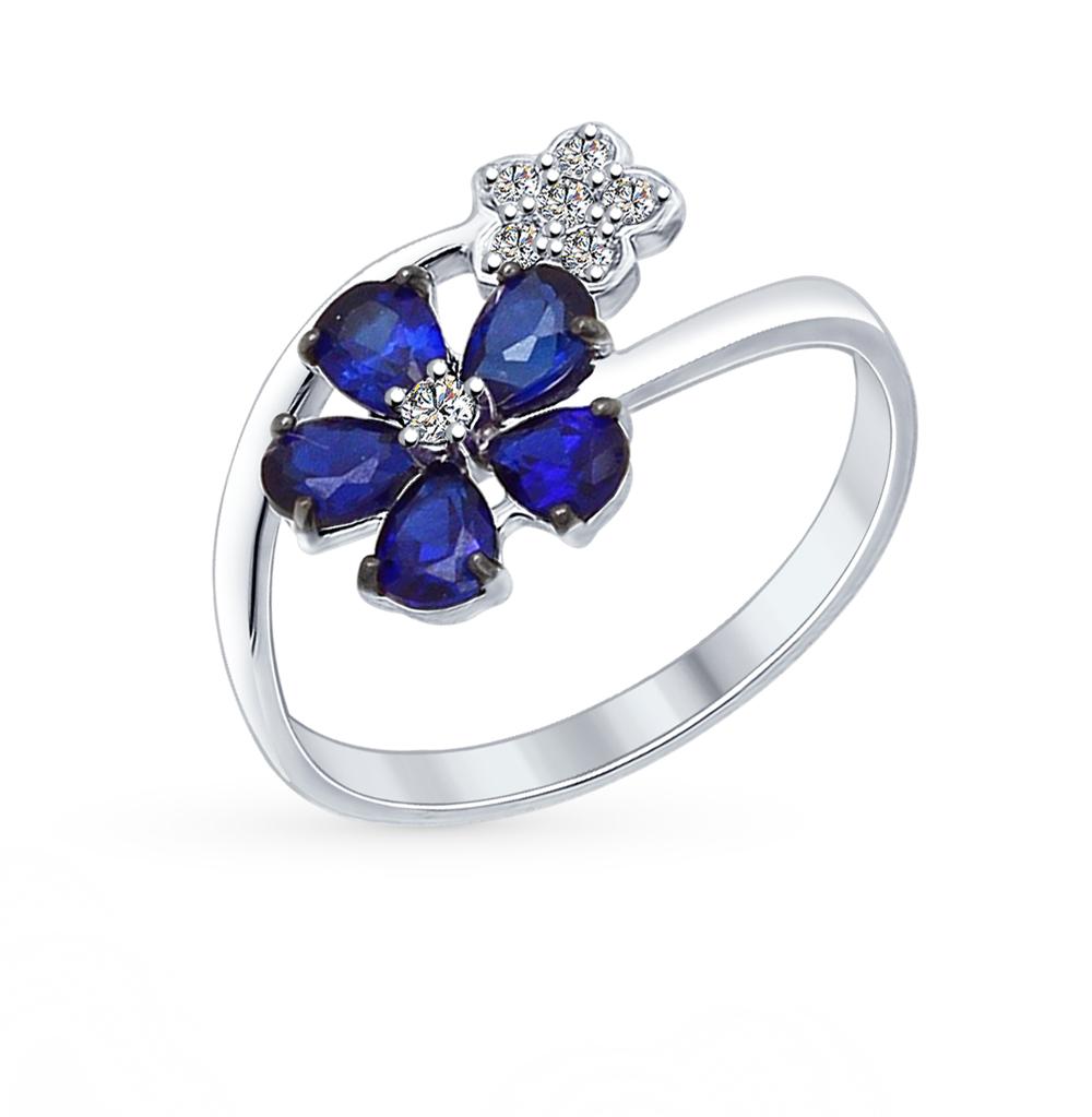 Фото «серебряное кольцо с корундами синтетическими и фианитами»