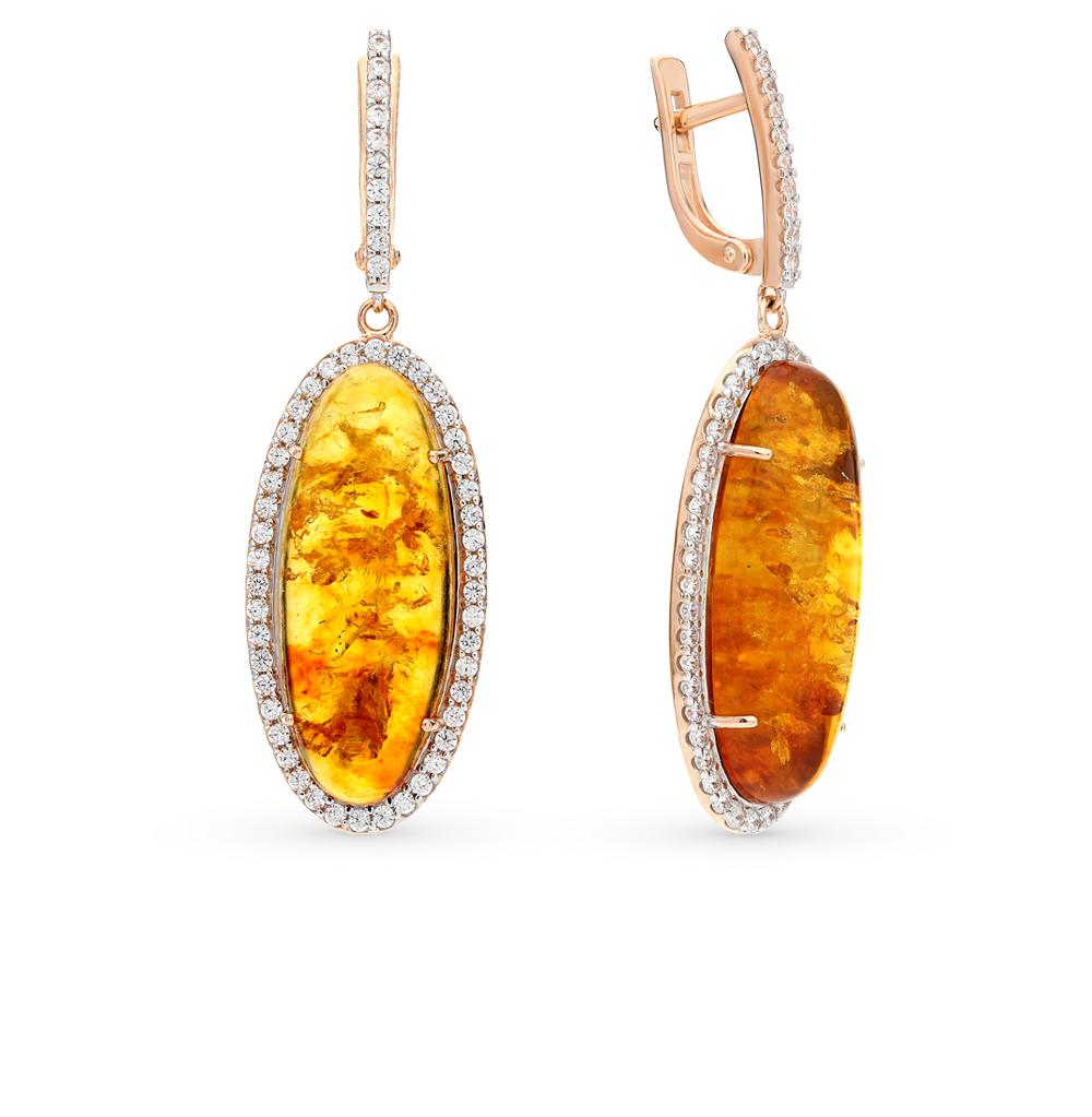 Фото «золото серьги с янтарями и фианитами»