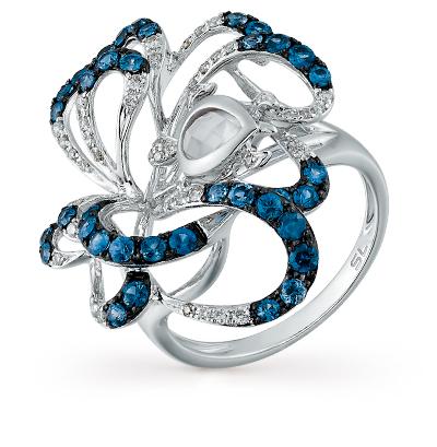 Фото «золотое кольцо с бриллиантами, кварцами и сапфирами»