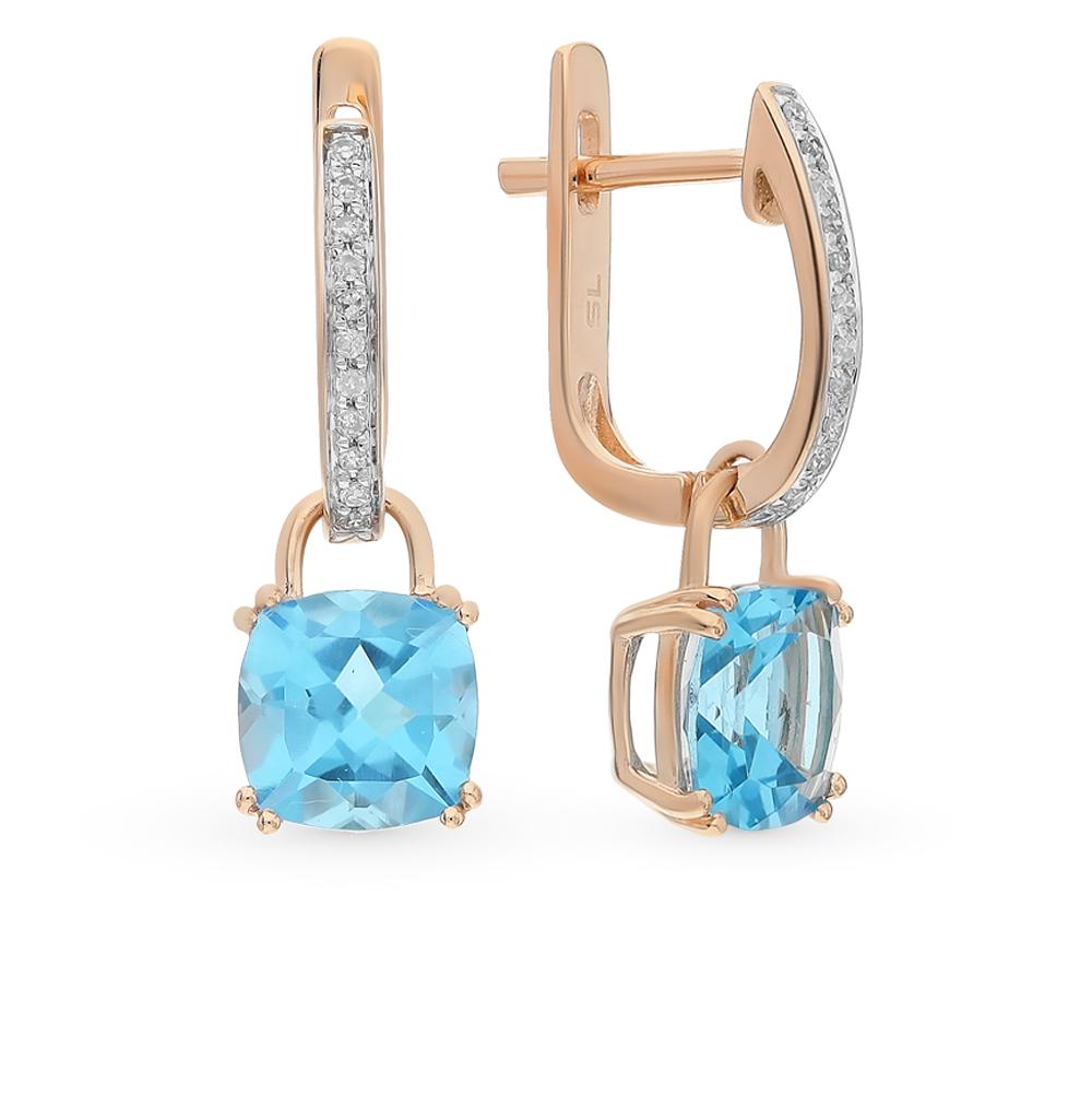 Фото «золото серьги с бриллиантами и топазами»