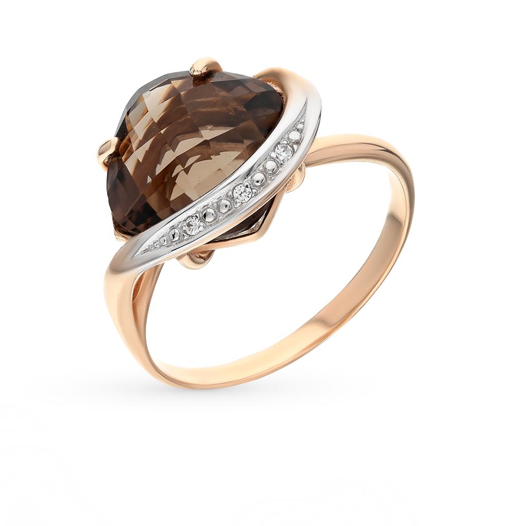 Фото «золото кольцо с фианитами и раухтопазами (кварцами дымчатый)»