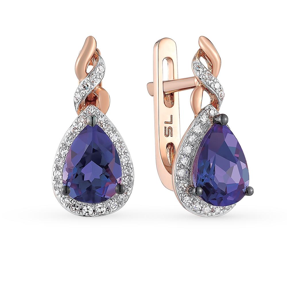Фото «золотые серьги с бриллиантами, аметистами и топазами»