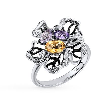 Фото «золотое кольцо с бриллиантами, аметистами и цитринами»
