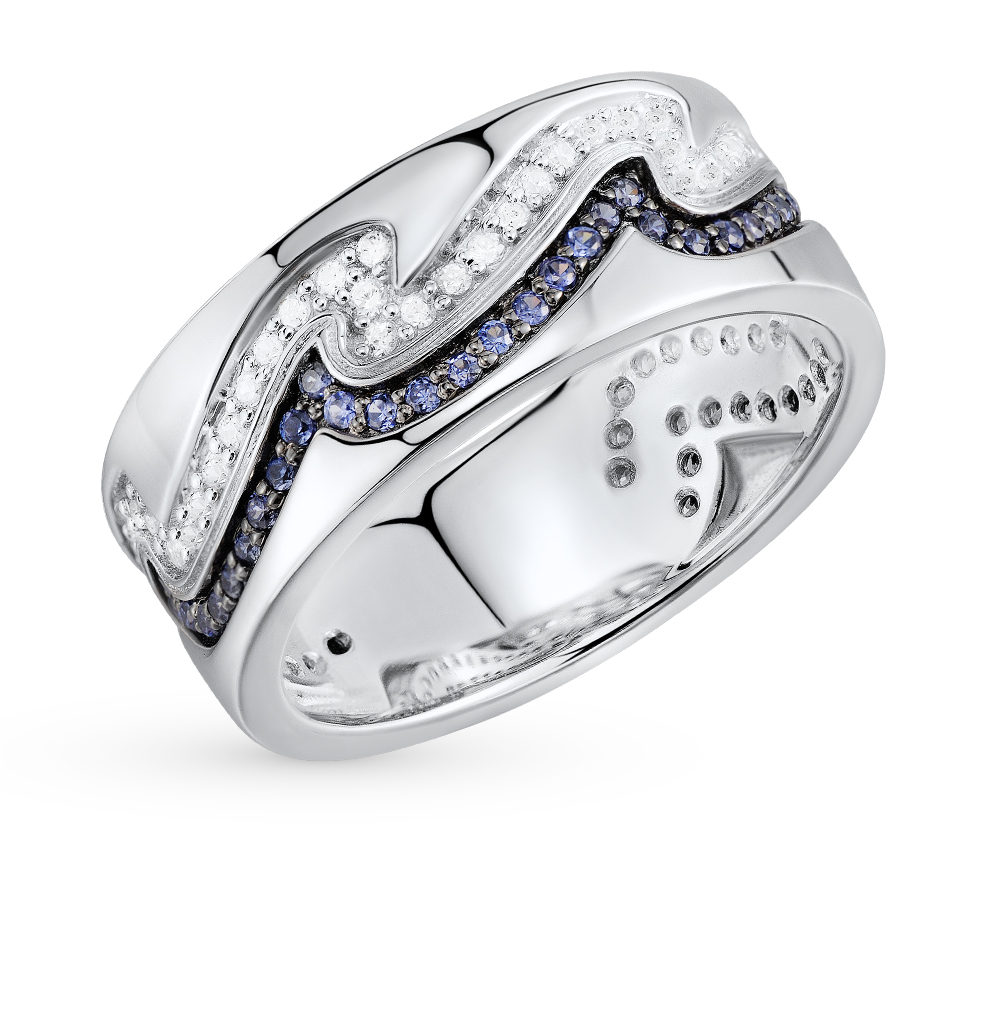Фото «серебряное кольцо с сапфирами синтетическими и фианитами»