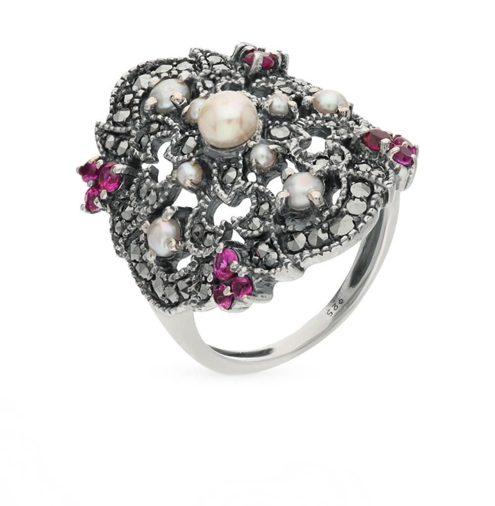 Фото «серебряное кольцо с марказитами, рубинами и жемчугом»