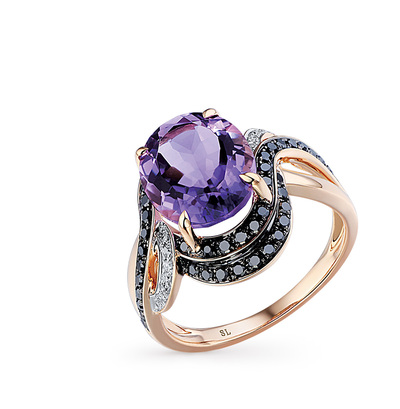 Фото «золотое кольцо с чёрными и белыми бриллиантами и аметистами»
