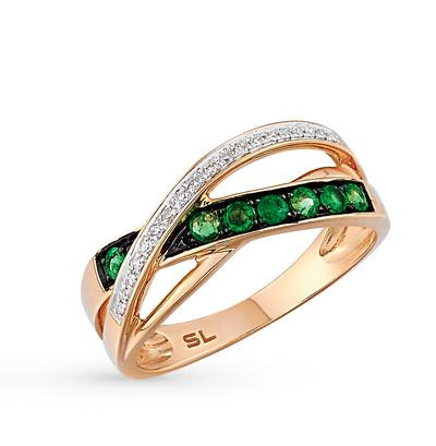 Фото «золотое кольцо с бриллиантами, топазами и изумрудами»