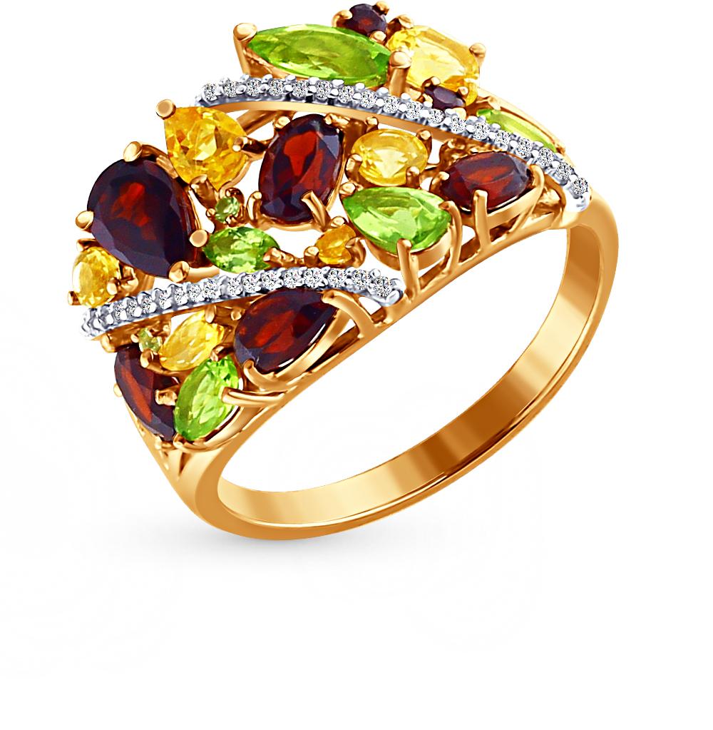 Фото «золотое кольцо с гранатами, цитринами, фианитами и хризолитами»