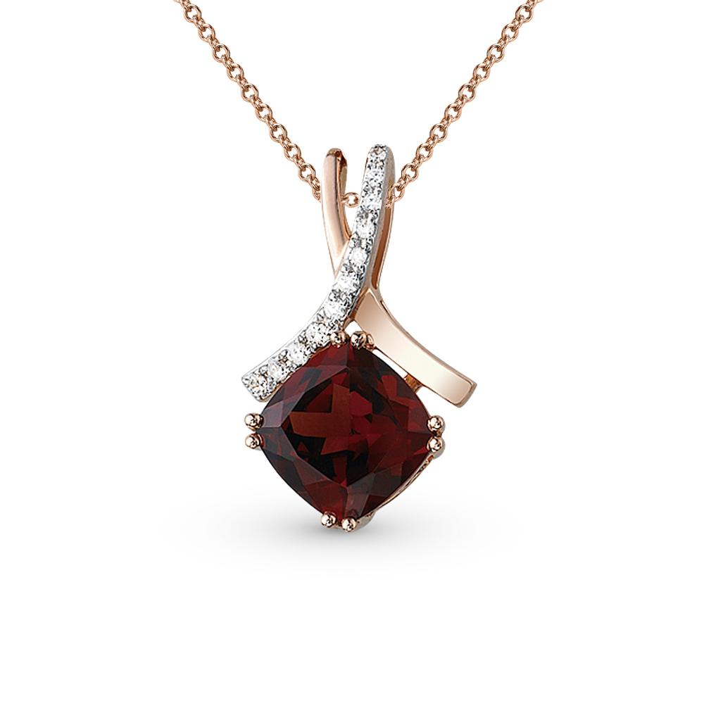 Фото «золото подвеска с бриллиантами и гранатами»