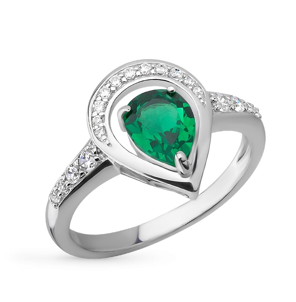 Фото «серебряное кольцо с изумрудами синтетическими и фианитами»