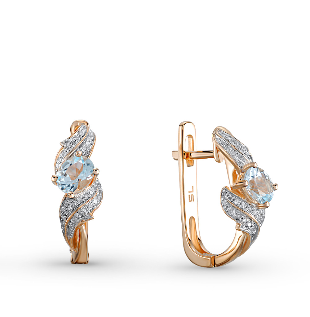 Фото «золотые серьги с бриллиантами и топазами»