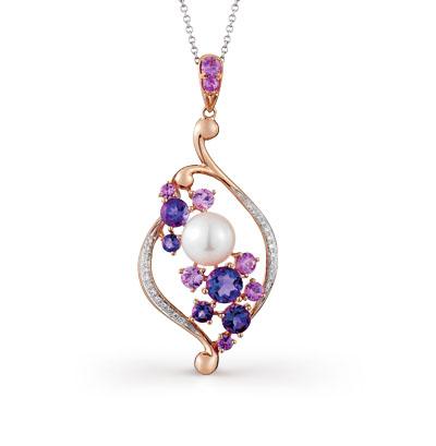 Фото «золотая подвеска с бриллиантами, аметистами и жемчугом»