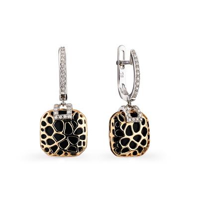 Фото «золотые серьги с бриллиантами и ониксом»