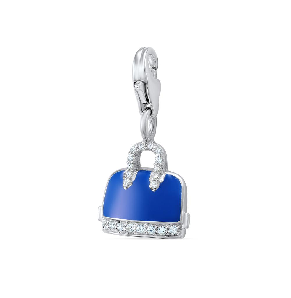 серебряная подвеска - брелок с фианитами и эмалью SUNLIGHT