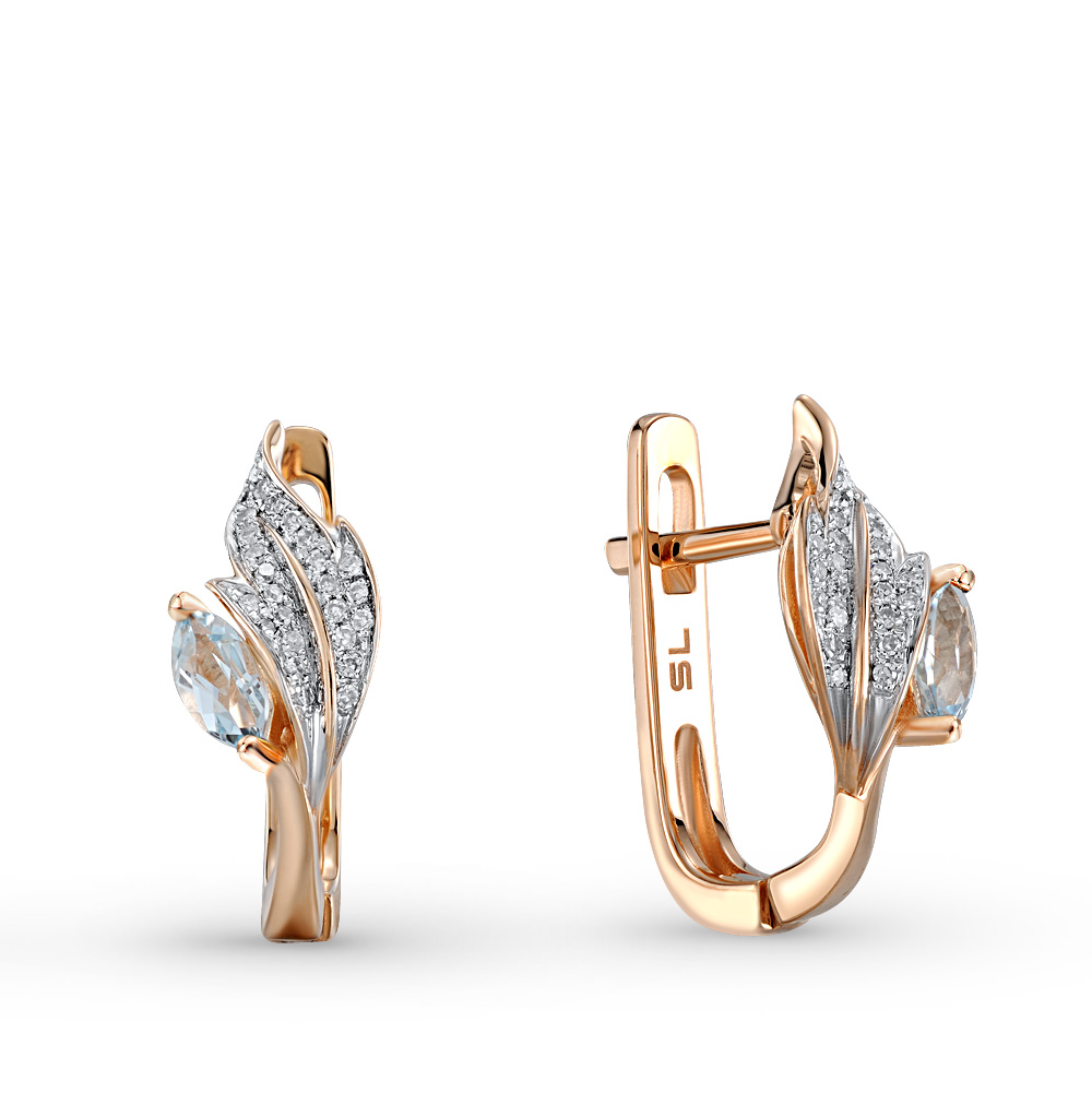 Фото «золотые серьги с топазами и бриллиантами»