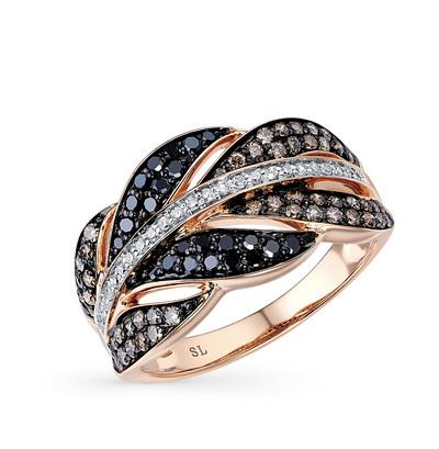 Фото «золотое кольцо с чёрными и белыми бриллиантами и топазами»