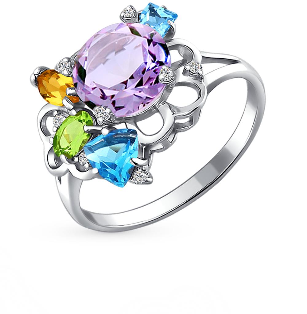 Фото «серебряное кольцо с аметистами, цитринами, топазами, фианитами и хризолитами»
