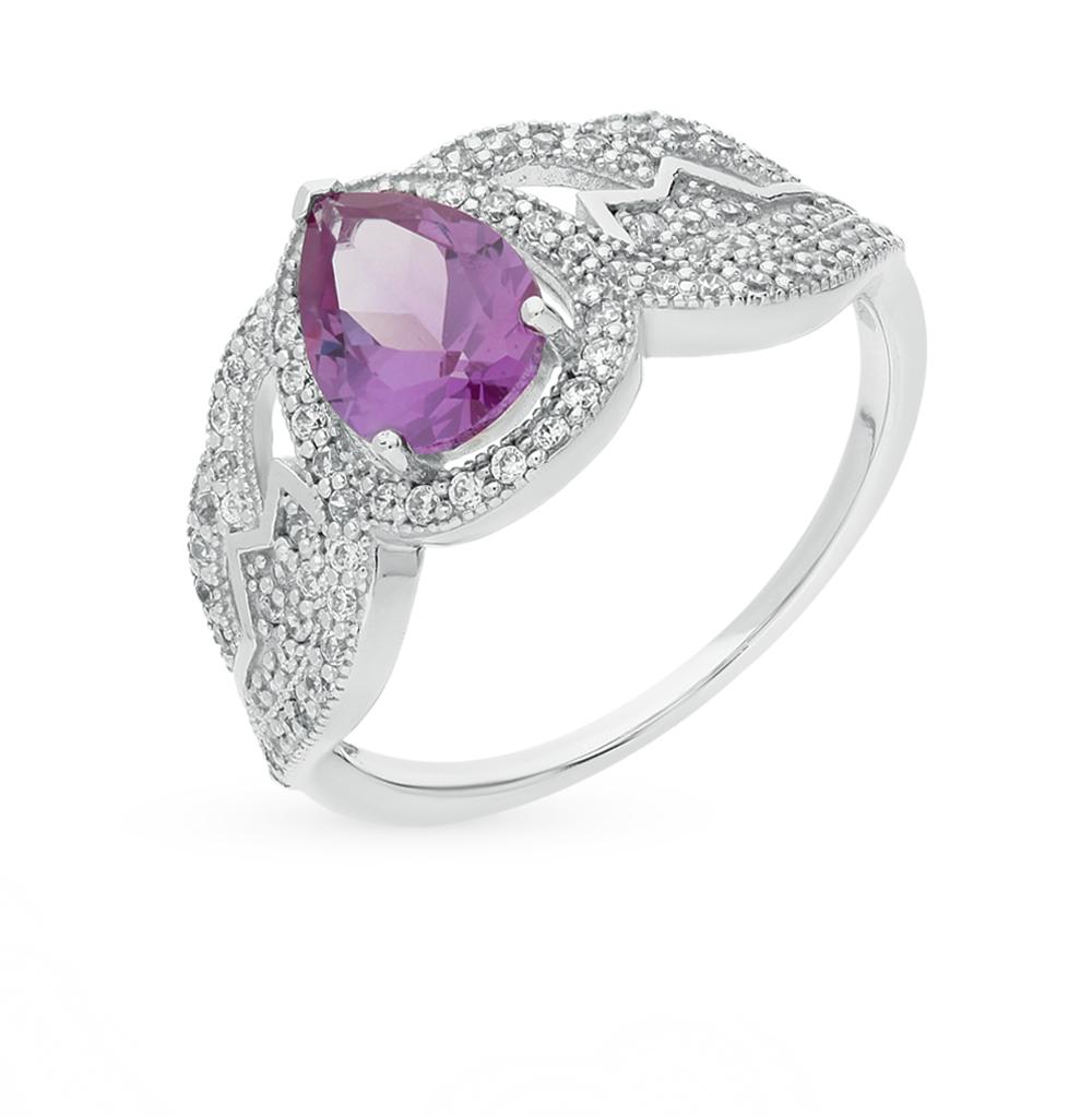 Фото «серебряное кольцо с александритами синтетическими и фианитами»