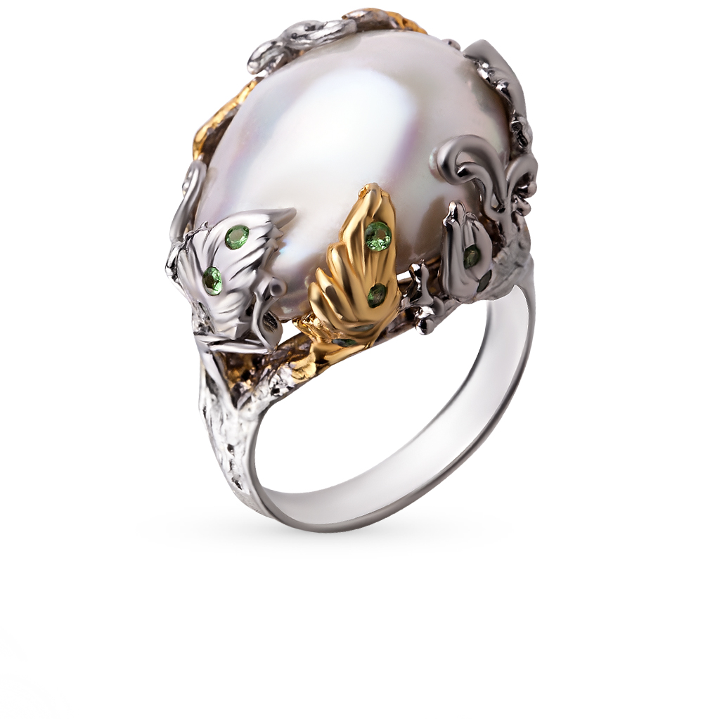 Фото «серебряное кольцо с цаворитами, культивированными жемчугами, гранатами и жемчугами»