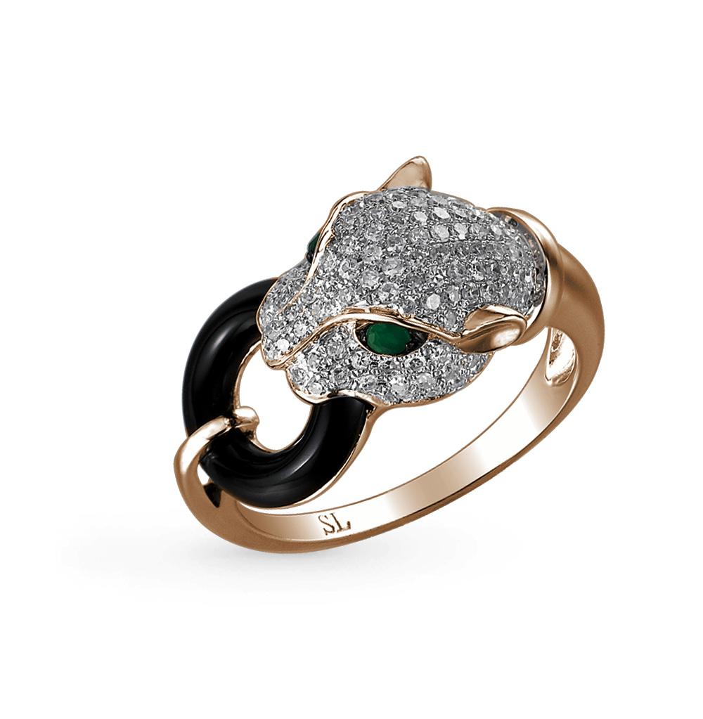 Фото «золотое кольцо с бриллиантами, изумрудами и ониксом»