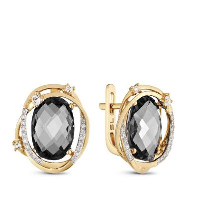 Фото «золотые серьги с бриллиантами, гранатами и топазами»