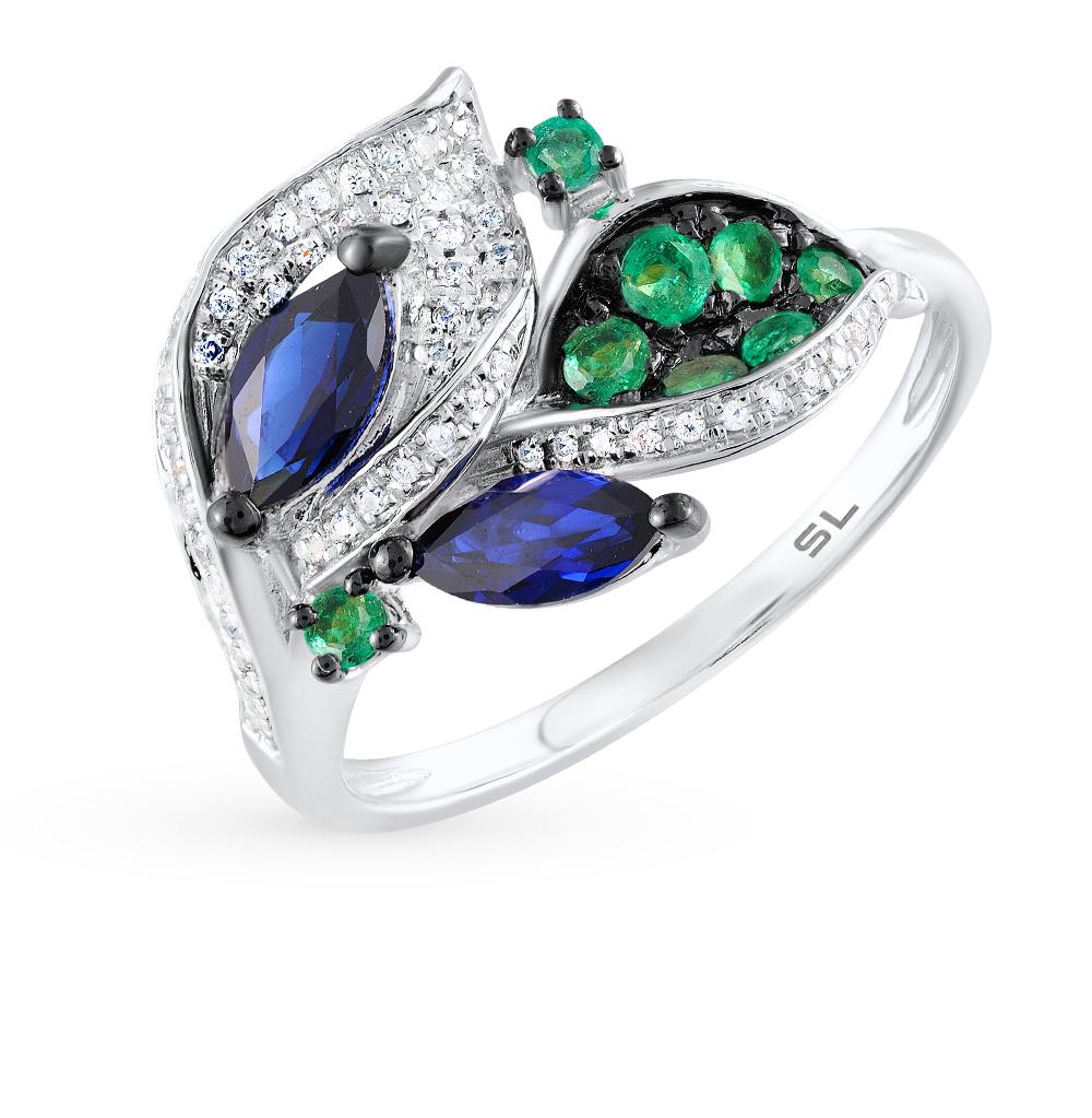 Фото «золотое кольцо с изумрудами, сапфирами и бриллиантами»