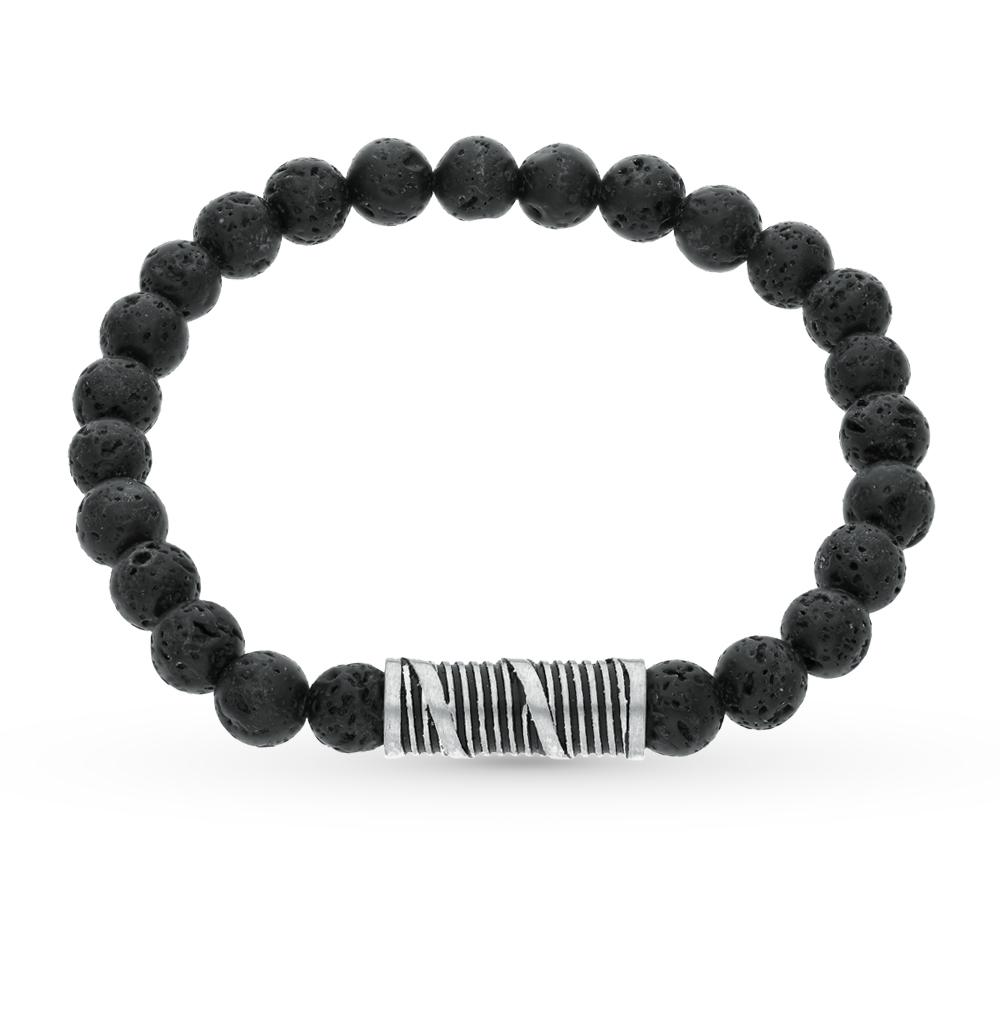 Фото «Сталь браслет с лавовыми камнями»