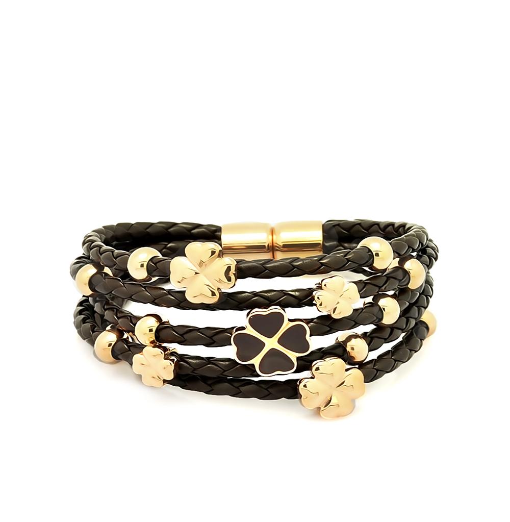 Фото «кожаный браслет с сталями и эмалью»