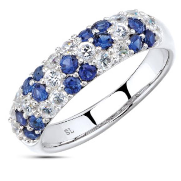 Фото «серебряное кольцо с фианитами, сапфирами и сапфирами синтетическими»
