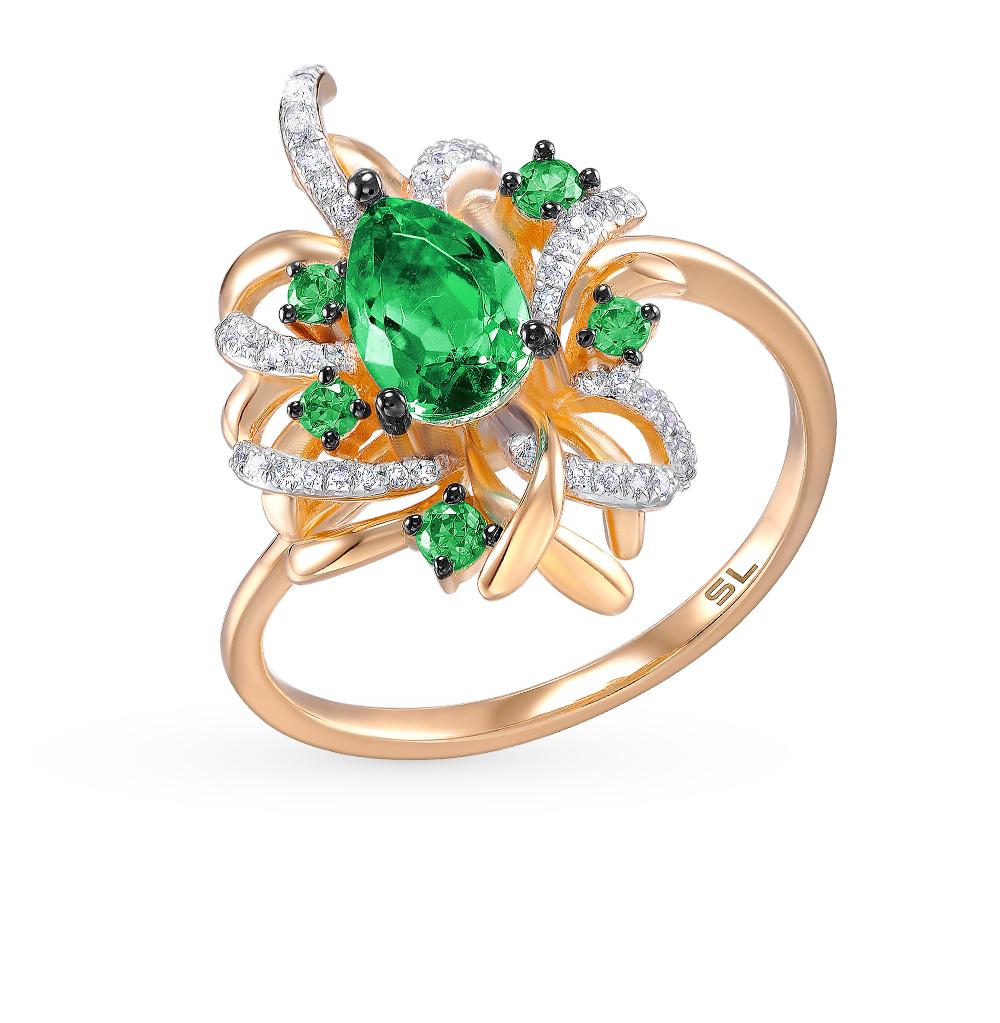 Фото «золотое кольцо с бриллиантами и шпинелями синтетическими»