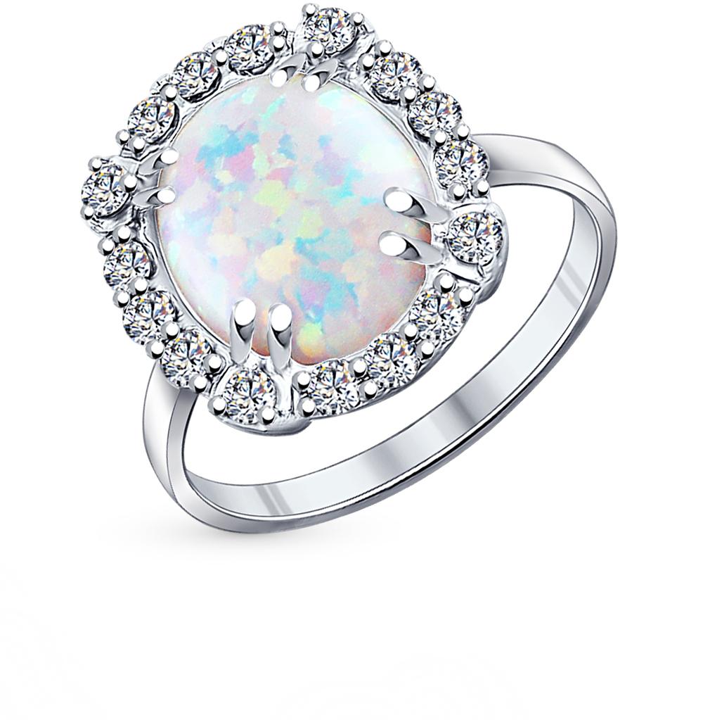 Фото «серебряное кольцо с опалами синтетическими и фианитами»