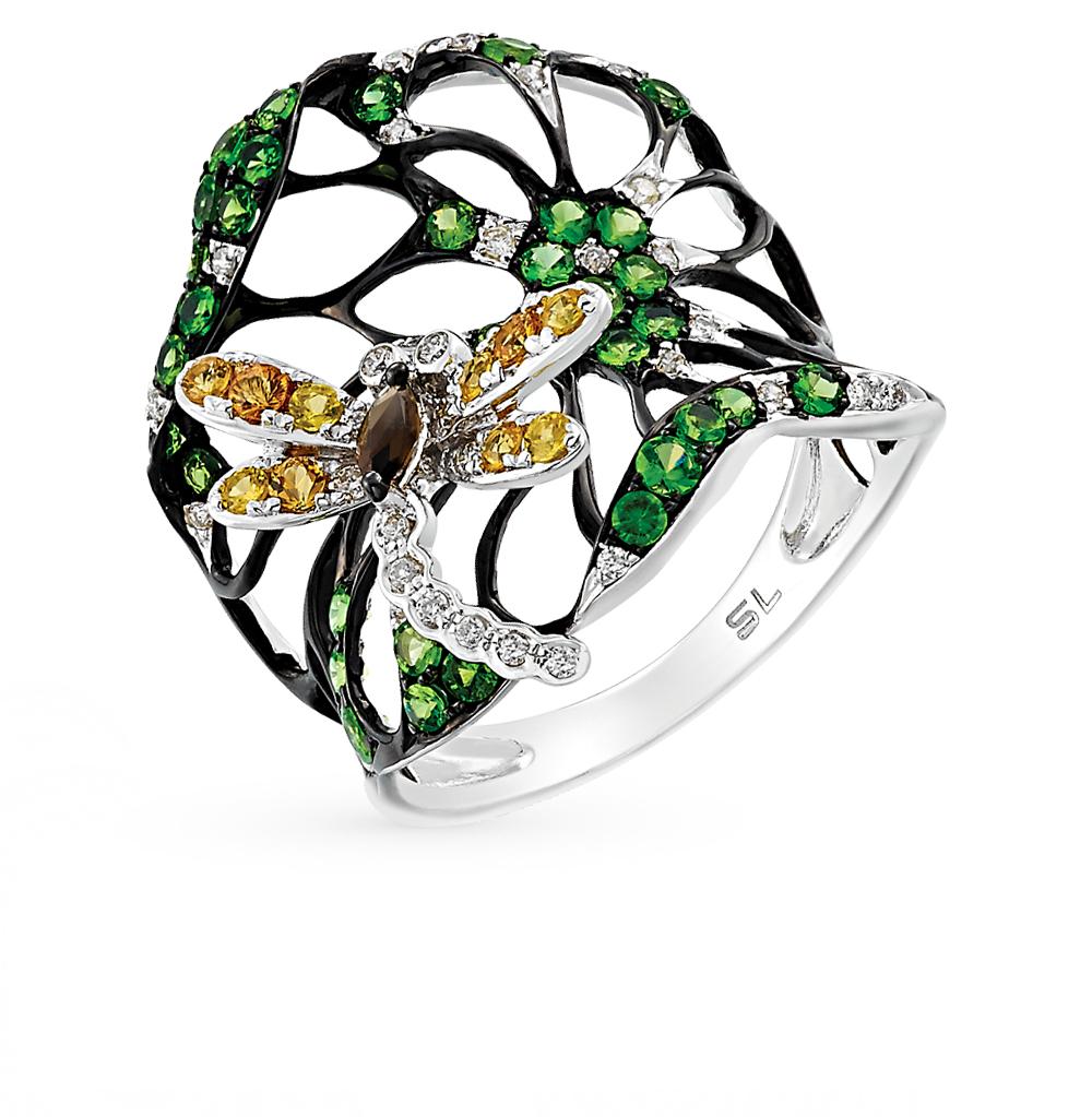 Фото «золотое кольцо с гранатом, кварцем, сапфирами и бриллиантами»