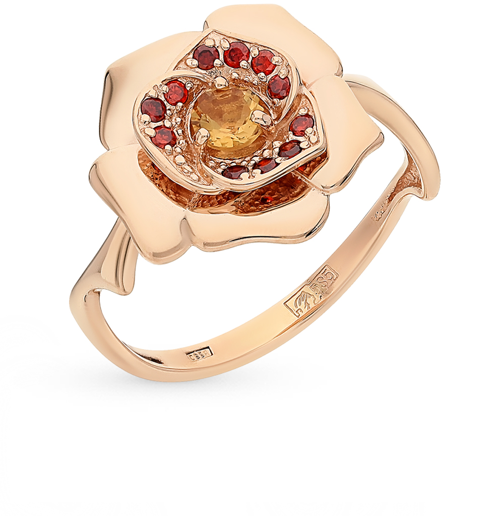 Фото «золотое кольцо с гранатами и цитринами»