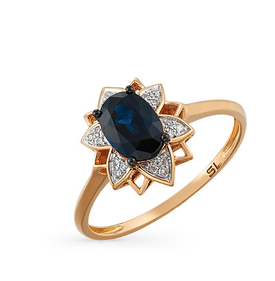 Фото «золотое кольцо с бриллиантами и сапфирами»