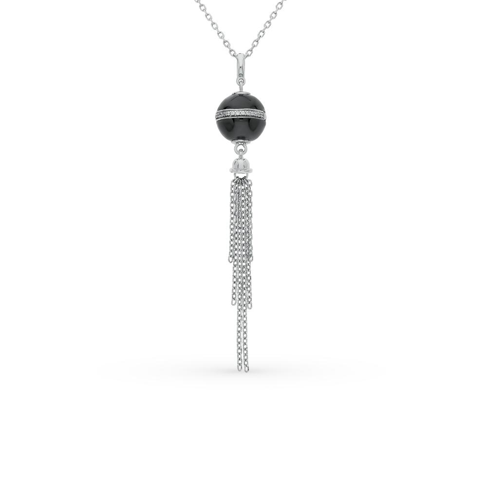 Фото «шейное украшение из серебра с фианитом и керамикой»