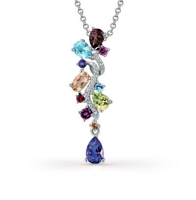 Фото «золотая подвеска с бриллиантами, аметистами, гранатами, цитринами, кварцами и хризолитами»