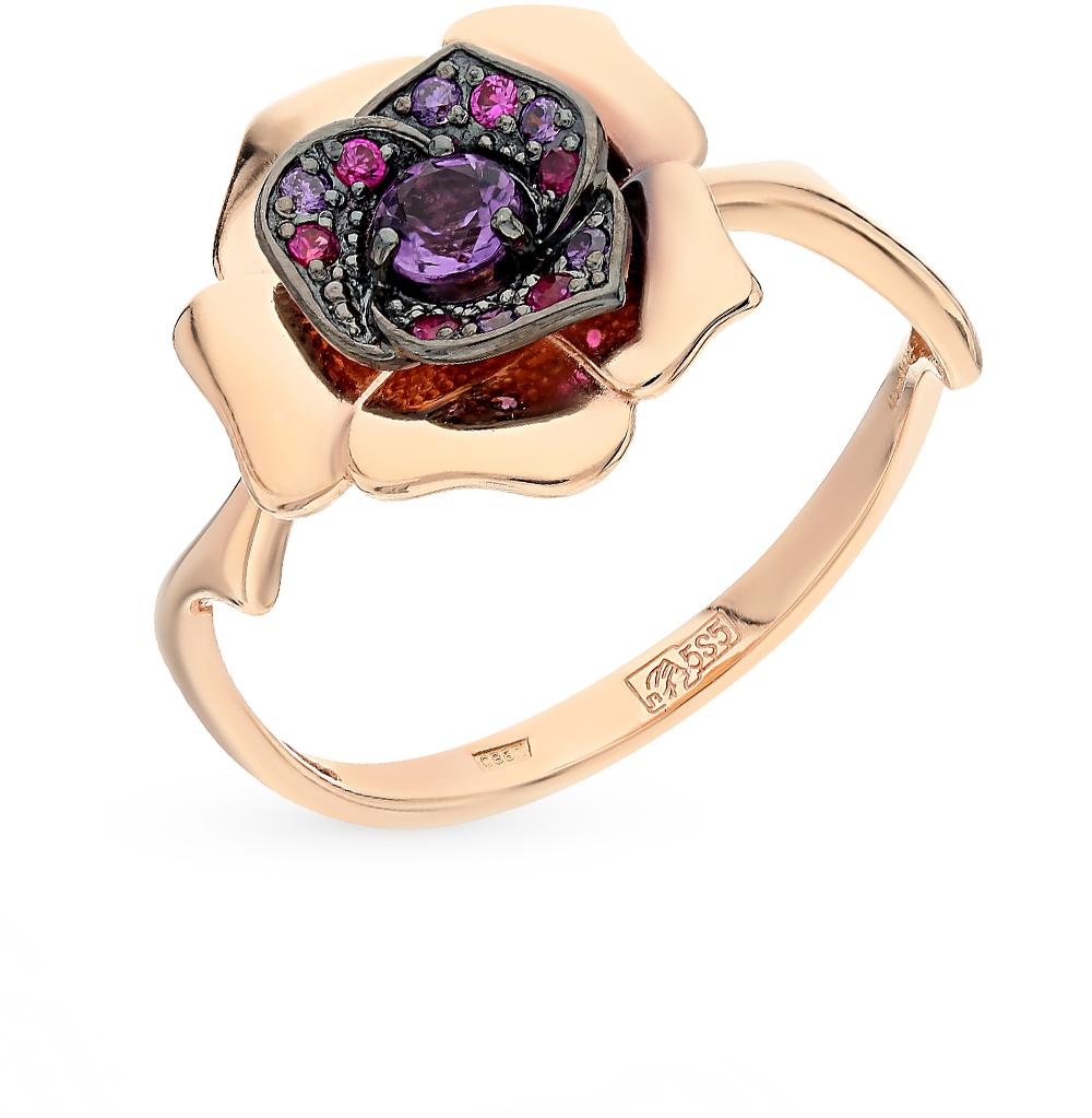 Фото «золотое кольцо с аметистом, аметистами синтетическими и корундами синтетическими»