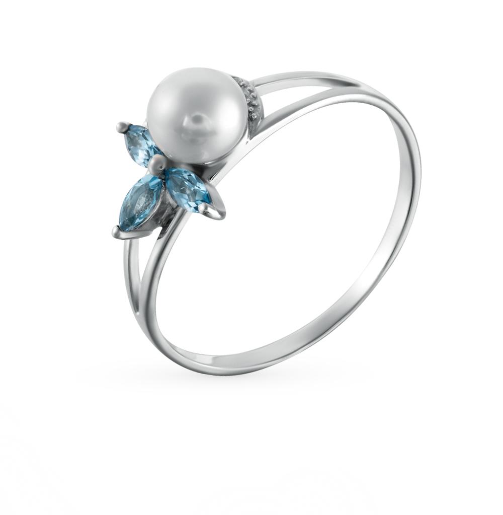 Фото «золотое кольцо с топазами, фианитами и жемчугами»