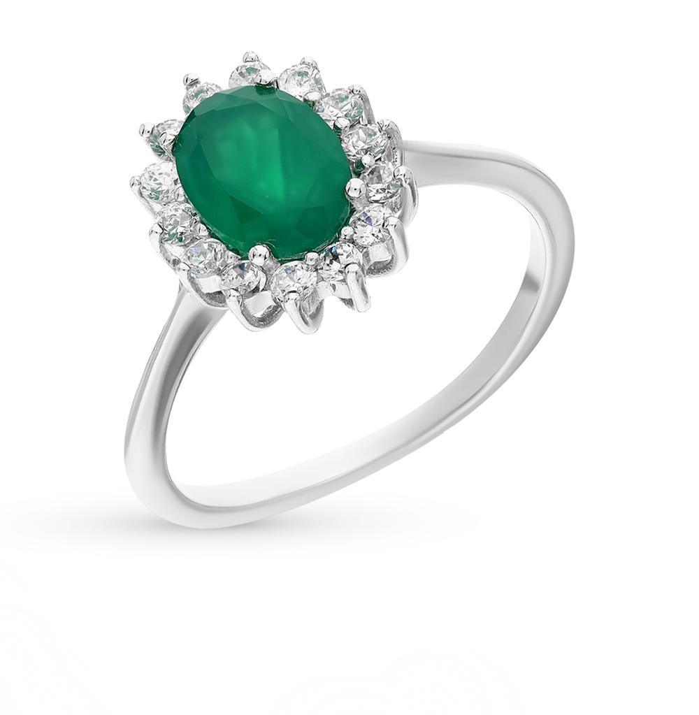Фото «серебряное кольцо с агатами и фианитами»