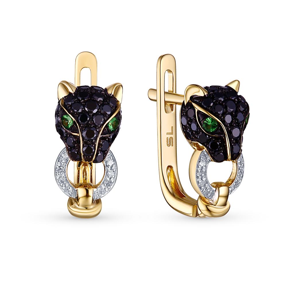 Фото «золотые серьги с чёрными и белыми бриллиантами и гранатами»